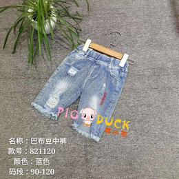 2019年夏季韩版巴布豆品牌童装牛仔中短裤批发
