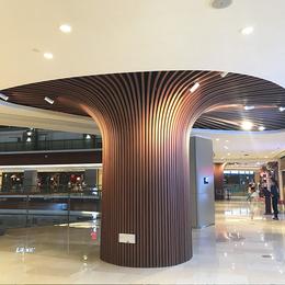 超市定制咖啡色包柱铝方通 弧形铝格栅厂家