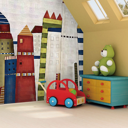 卡通彩色油画城堡超环保儿童房墙纸 定制大型壁纸工装壁布壁画缩略图
