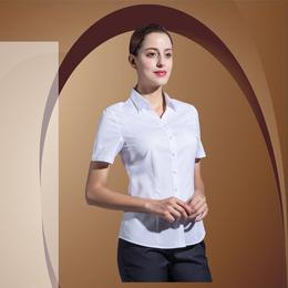 新款职业服短袖蓝色暗V领衬衫缩略图