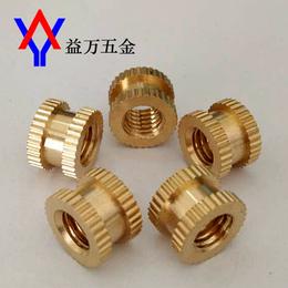 厂家精加工 注塑铜螺母 滚花铜螺母 M5内外牙螺母