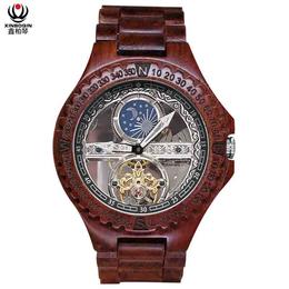 厂家直销 新款黑檀木质全自动平安国际乐园手表镂空男士****防水定制批发