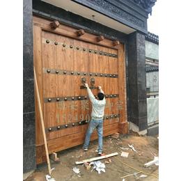 西安仿古实木大门-老榆木大门-中式铜钉大门-定做厂家