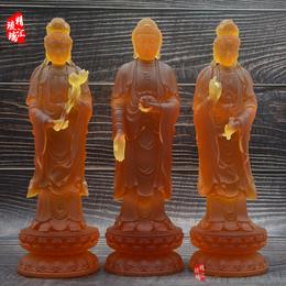 琉璃佛像直销  西方三圣琉璃佛像 阿弥陀佛大势至观音菩萨佛像