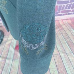 冬款西装领盘花中老年妈妈装毛呢外套上衣女绿色