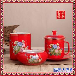 酒店宾馆客房陶瓷茶杯三件套  青花玲珑茶杯三件套缩略图