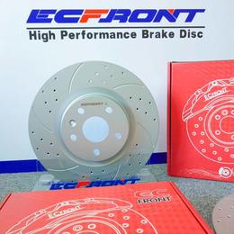ECFRONT耐高温打孔刹车盘适配奔驰C63原装位升级