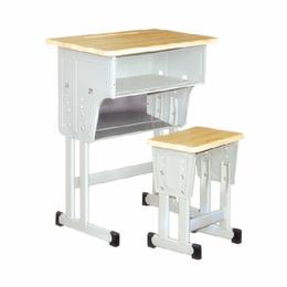 供应2018新款双柱双层单人课桌椅厂家直销