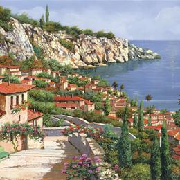 欧式油画定制地中海风景别墅客厅挂画过道壁画玄关竖版装饰画