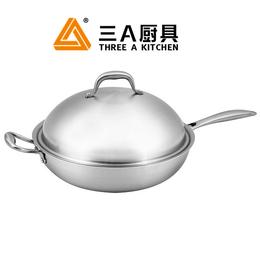 厂家直销三A厨具三层钢不锈钢炒锅无烟无涂层不粘锅