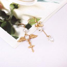新款韩版 时尚潮流合金蝴蝶天使水晶长款耳环 可首饰来样定制