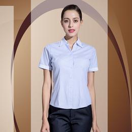 定制V领衬衫蓝条纹竖女短袖