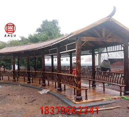 公园户外防腐木扇形长廊缩略图