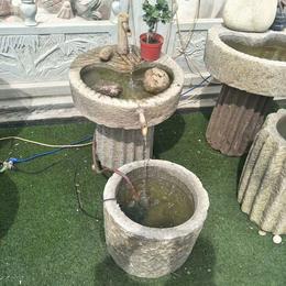 青石花盆石盆水槽 老牛槽旧马槽 老石磨盘组合流水景观摆件