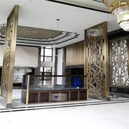 供应酒店香槟色不锈钢屏风通花定制不锈钢隔断屏风