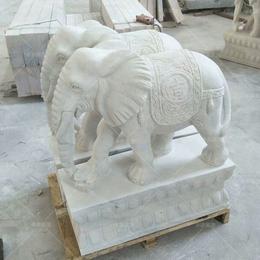 60公分汉白玉小象 丰路石雕 石雕风水小象一对