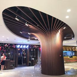 热销商场包柱木纹铝方通 弧形木纹铝方通 铝树