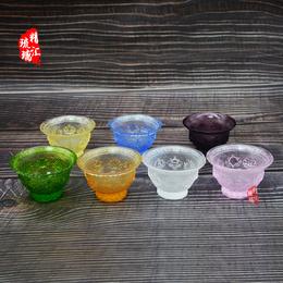 吉祥八宝琉璃供杯 圣水杯 佛前供具批发制作 广州琉璃厂家