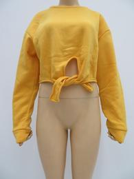 女士加绒加厚保暖上衣新潮长袖宽松露脐外穿绒衫