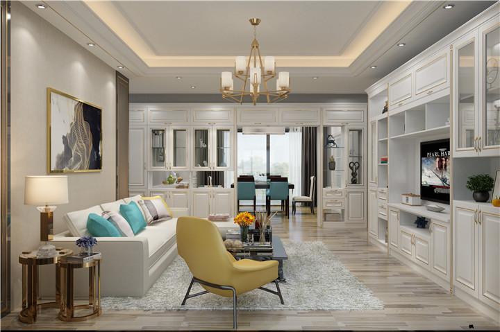 白色欧式简约全屋定制客厅柜