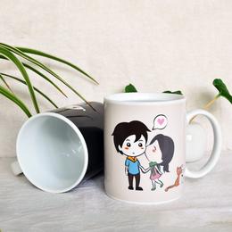 情侣变色杯陶瓷个性杯定制礼物陶瓷变色杯厂家批发