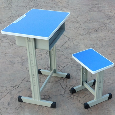 中小学单人单柱套管升降多层板课桌凳