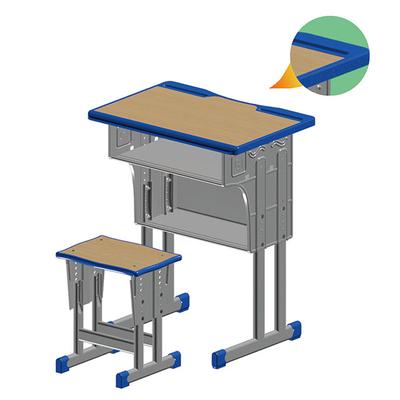 双柱双层外升降多层板课桌凳