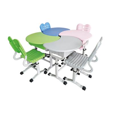 单柱单层旋钮式多人拼接塑料升降课桌椅