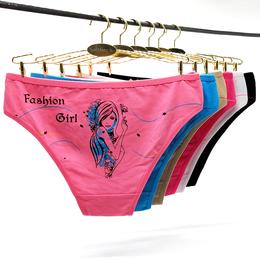 外贸全棉内裤 厂家现货女士三角裤时尚卡通印花短裤出口