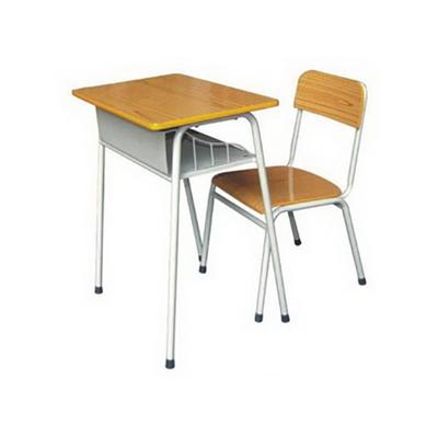 大学生单人广式弯管单层固定课桌椅