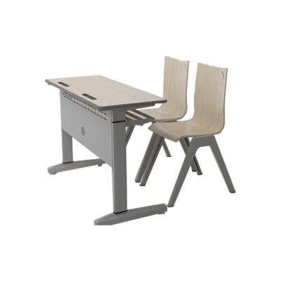 大学生双人单柱单层固定课桌椅