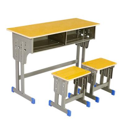 双人双柱外升降塑封多层板课桌凳