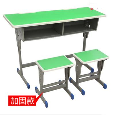 双人单柱外升降塑封多层板课桌凳