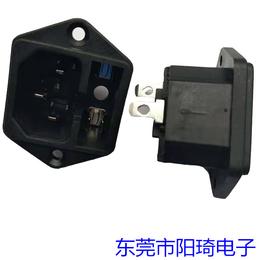 电源插座-二合一带保险丝带耳朵固定插座-三插品字插座