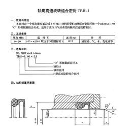 H型滑环式组合密封 四氟轴用高速旋转组合密封TBH-I