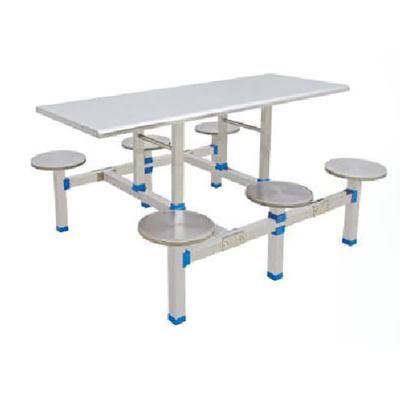6位不锈钢固定圆凳餐桌