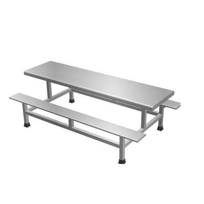 6位不锈钢固定条凳餐桌
