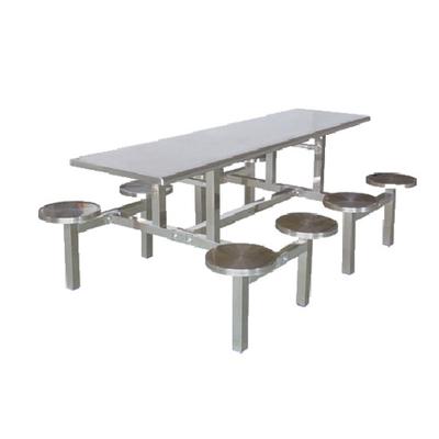 8位不锈钢固定圆凳餐桌