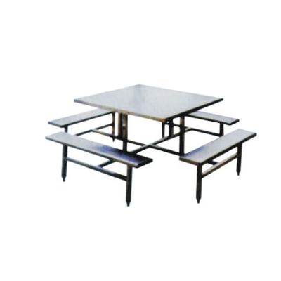 8位不锈钢固定条凳餐桌