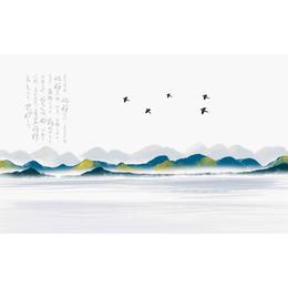 新中式水墨国画抽象山水瓷板挂画