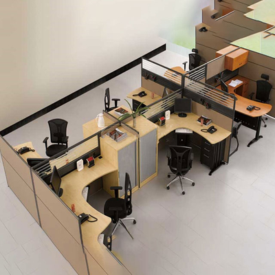 多人玻璃屏风办公桌