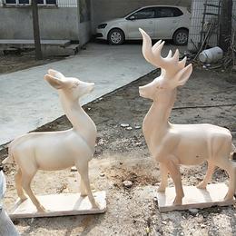 曲阳石雕小鹿晚霞红现货小鹿母子鹿动物雕塑