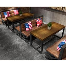 复古工业风卡座沙发铁艺咖啡厅桌椅火锅店酒吧餐厅烧烤店桌椅组合缩略图