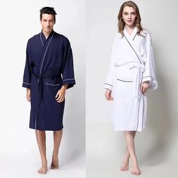 新款全棉浴袍纯棉和服领华夫格浴袍
