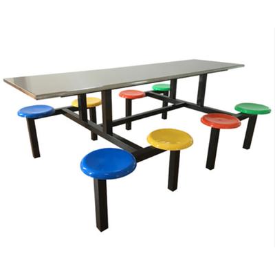 8位玻璃钢固定圆凳餐桌