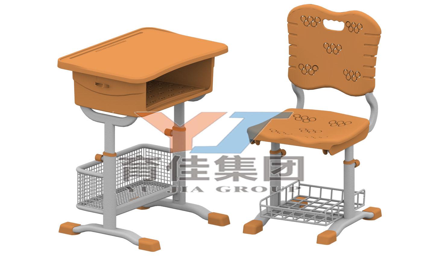 旋鈕式套管升降五環課桌椅