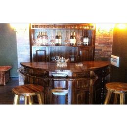 防腐木欧式吧台 简约艺术酒吧台小转角吧台实木吧台