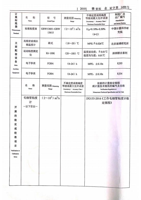 计量标准考核证书