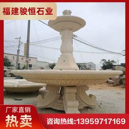 庭院大型石雕噴泉 黃銹石噴泉雕塑 園林噴泉廠家