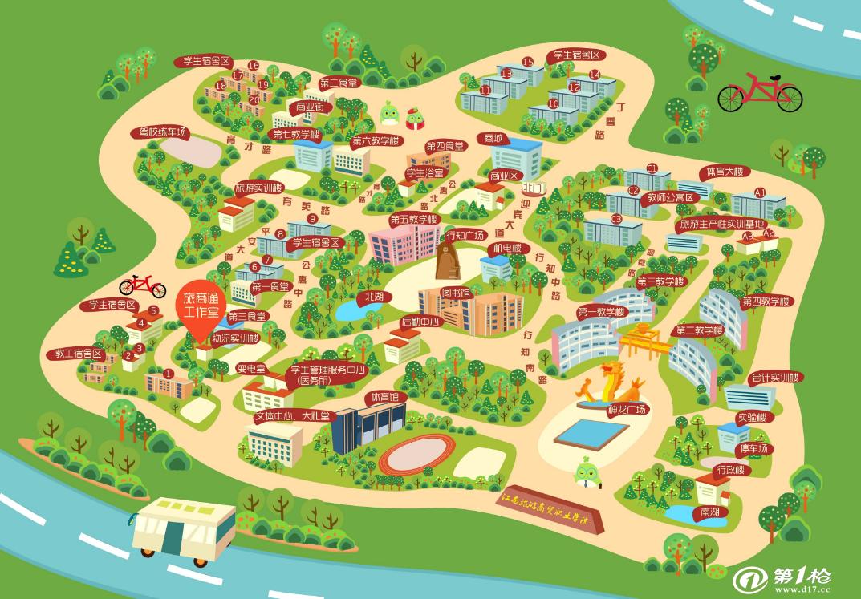 区域手绘校园景区v区域地图地图卡通地图成都广告设计一个月大约多少钱图片